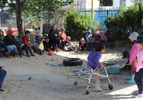 Kids playing in sandpit at Girrabanya